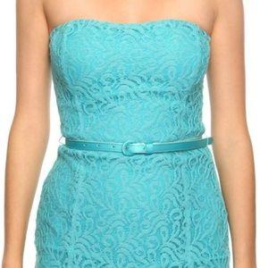 Aqua Belted Lace Dress